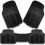 Car Mats,Trimmable Heavy Duty Floor Mat,Front & Rear Rubber Car Floor Mats,Full Set Trim to Fit Floor,Black (3pcs)