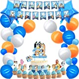 Party supplies for Bluey Theme Party Decorations Cake topper Banner Balloons Stickers Cupcaker Toppers,for Girls Boys Party Supplies B020