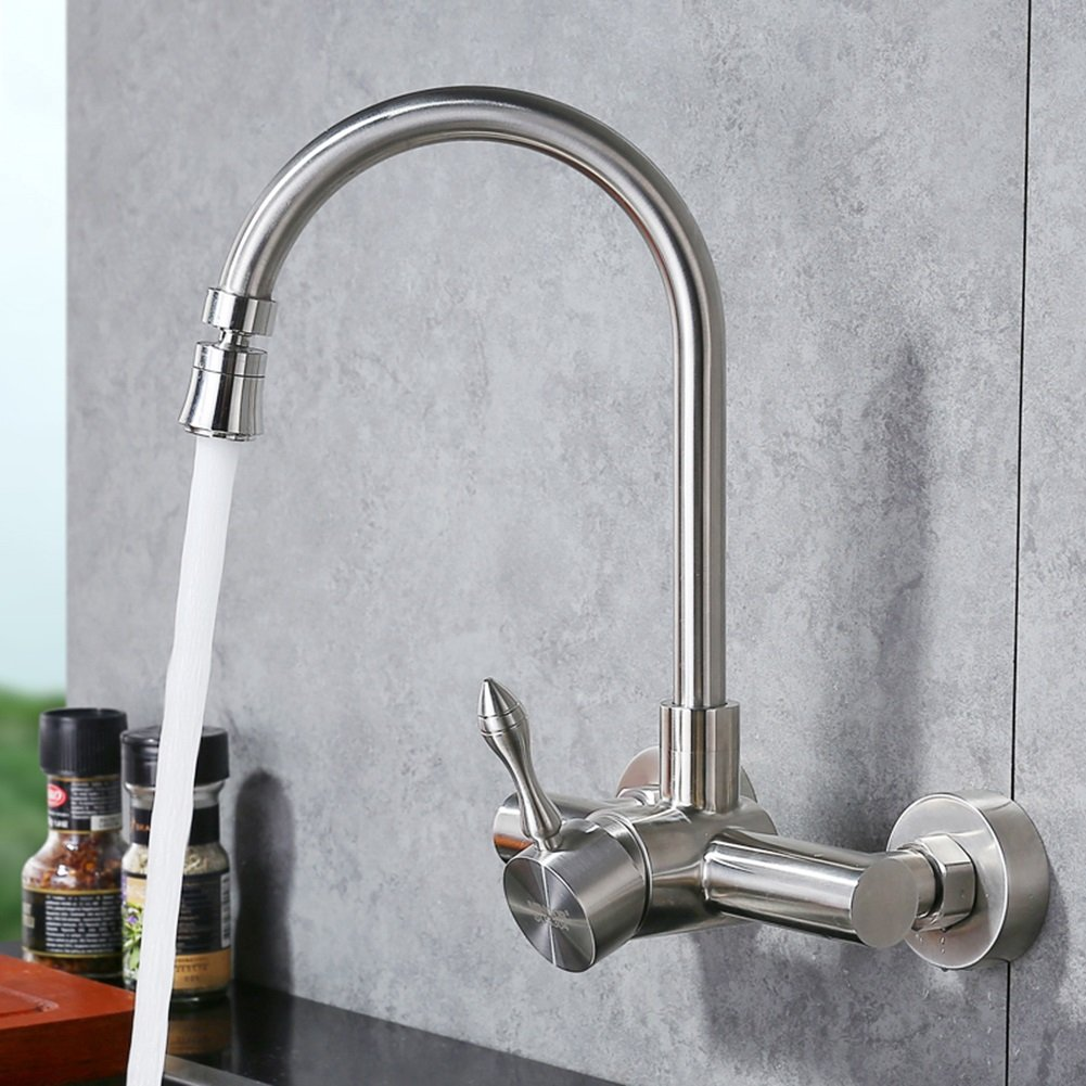 T2 Kitchen Taps YIXINY Kitchen Faucet redating Stainless Steel Single Handle Into The Wall (color   T2)