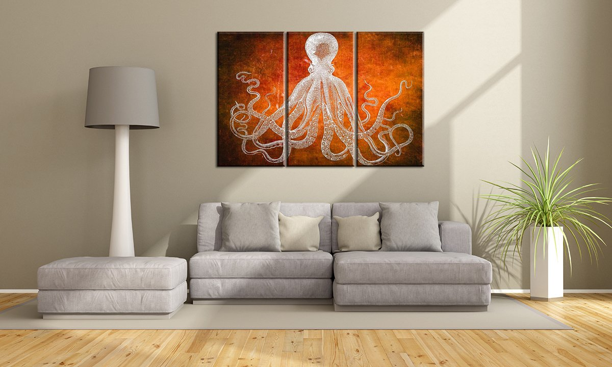 Yyl Art Pure Color Orange Background With White Octopus Canvas Wall