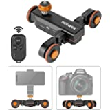 Neewer 3-Wheels Wirelesss Camera Video Auto Dolly Motorized Electric Track Rail Slider Dolly Car with Remote Control 3 Speed