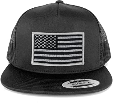 fe54f105761 Armycrew Flexfit 5 Panel American Flag Patched Snapback Mesh Charcoal Cap