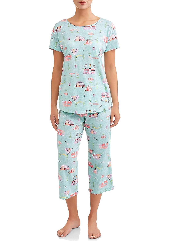 Secret Treasures RV Camping Aqua Cloud 2 Piece Knit Pajama Sleep Set