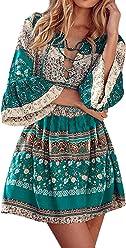 StyleDome Donna Vestito Abito Corto Spiaggia Floreale Mezza Manica Casual  Elegante Etnico Tribale c8fba415838