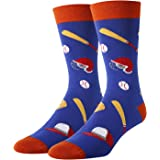 HAPPYPOP Men Beer Poker Game Space Funny Cotton Crew Socks, Food Sports Themed Socks