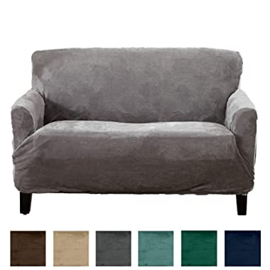 Form Fit, Slip Resistant, Stylish Furniture Shield/Protector Featuring Velvet Plush Fabric Magnolia Collection Strapless Slipcover (Loveseat, Grey)