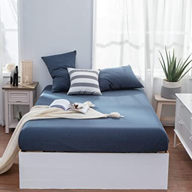 LIFETOWN 100% Jersey Knit Cotton Fitted Sheet Set 3 Pieces, 1 Fitted Sheet + 2 Pillow Cases, 15  Deep Pocket, Ultra Soft and Easy to Put (King, Navy Blue)