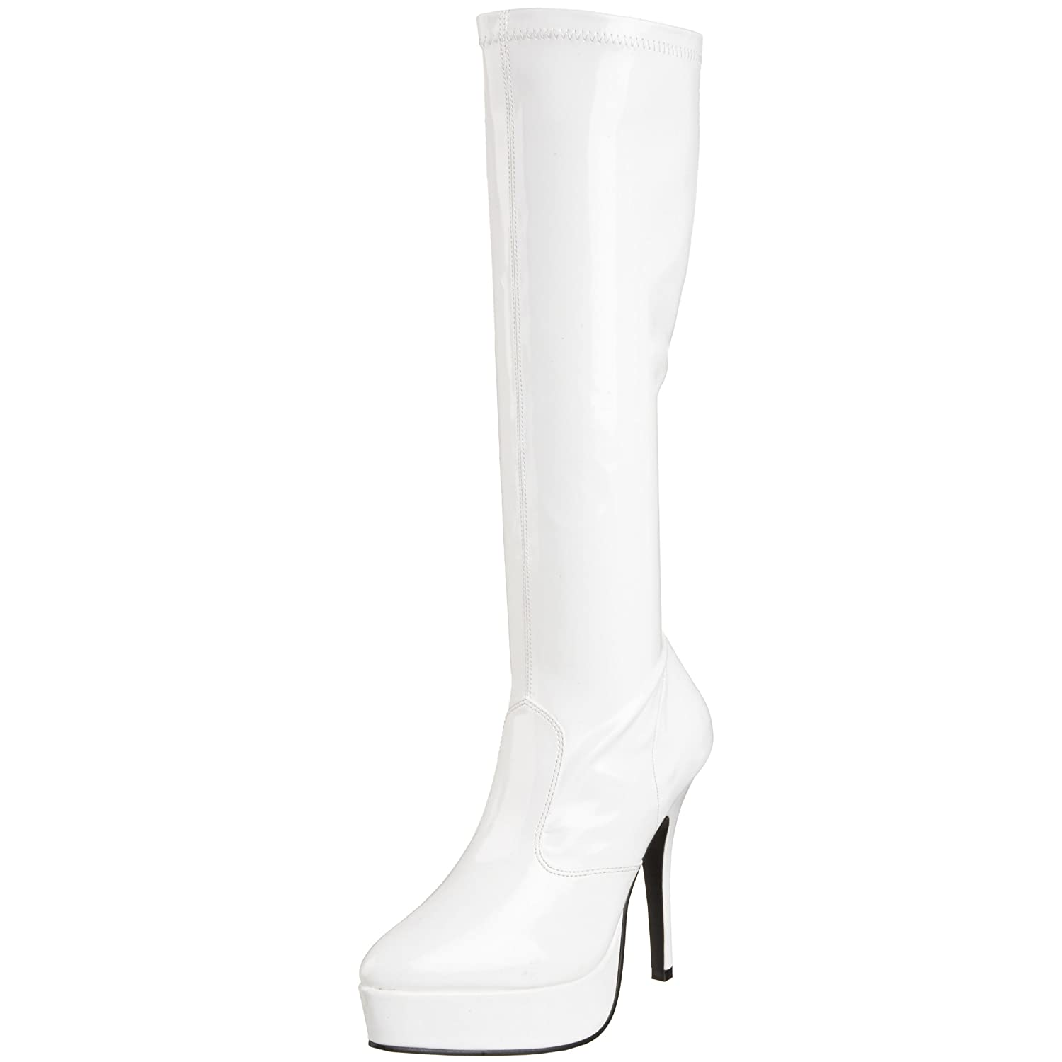 Pleaser Women's Indulge-2000 Platform Boot B000XUUR1O 9 B(M) US|White Stretch Patent