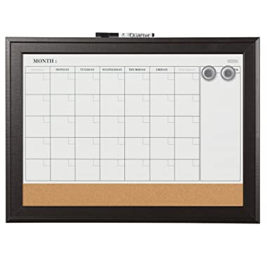 Quartet Combination Magnetic Whiteboard Calendar & Corkboard, 17  x 23  Combo White Board & Cork Board, Black Frame (79275)