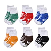 Epeius Unisex Baby Non-Slip Socks Like Shoes Infant Boys/Girls Anti Slip Booties for 1-9 Months (Set of 6),Black/White/Blue/Yellow/Brown/Green