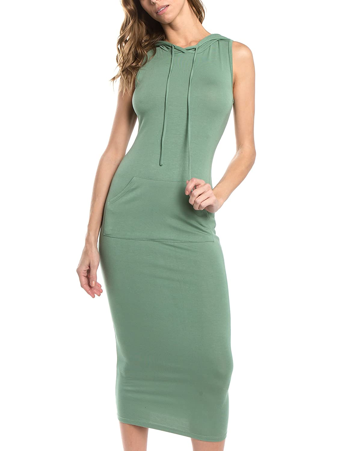 Sage Bubble B Women's Hooded Sleeveless Long Bodycon Dress  Size S to 3X