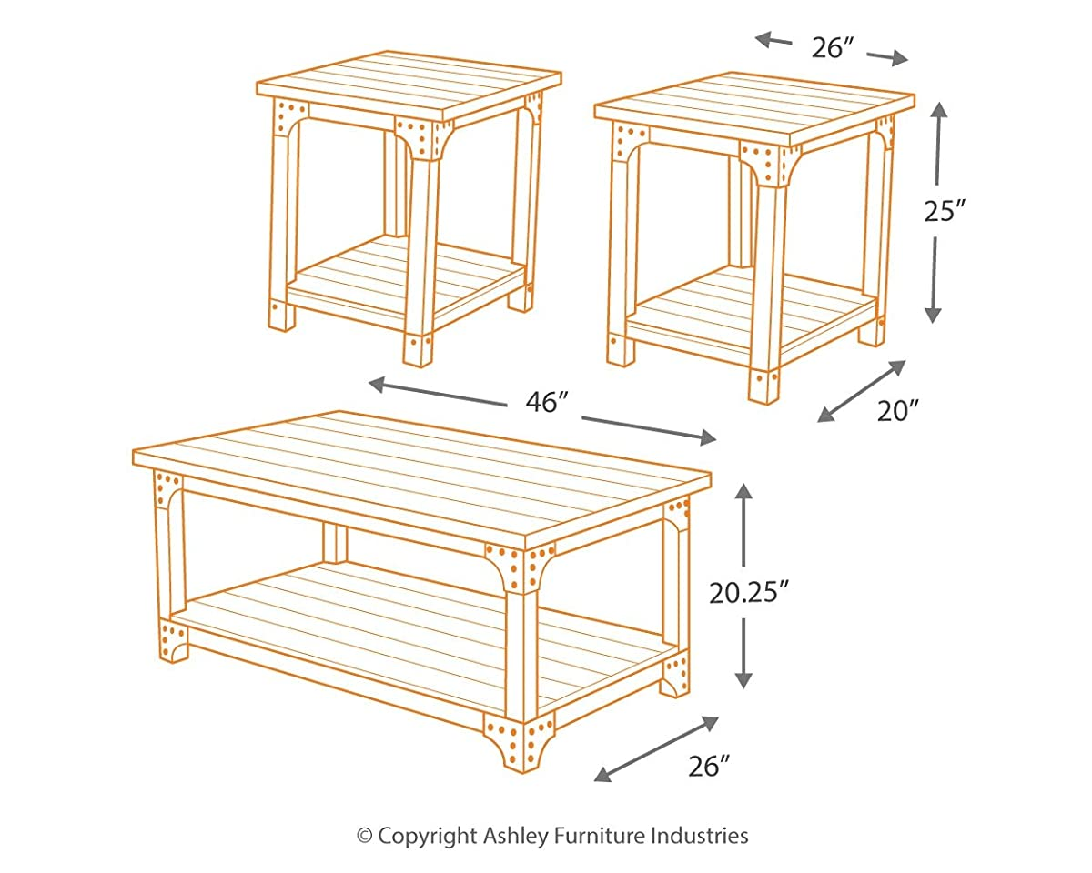 Ashley Furniture Signature Design - Murphy 3 Piece Occasional Table Set, Medium Brown