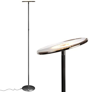 Brightech Sky LED Torchiere Super Bright Floor Lamp - Tall Standing Modern Pole Light for Living Rooms & Offices - Dimmable Uplight for Reading Books in Your Bedroom etc - Shiny Gunmetal Black