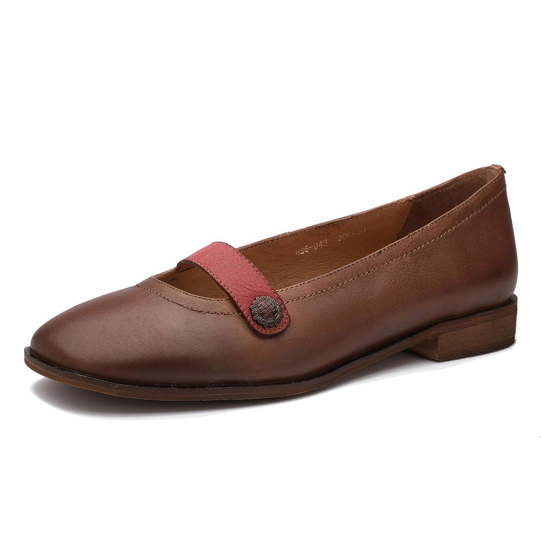 Marron Huegu Chaussures à Talon Bas en Cuir véritable Vintage pour Femmes Chaussures à Enfiler monochromes Confortables à Bouts Ronds Printemps et été