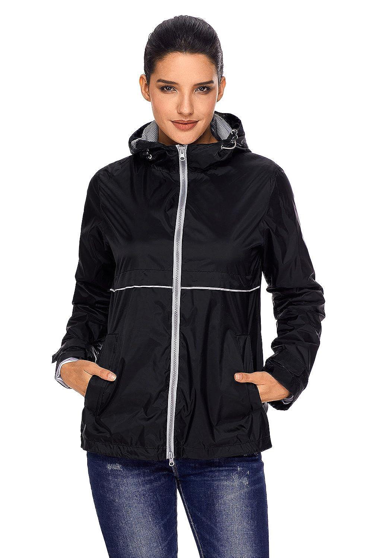 Black Zity Women Lightweight Trench Raincoat Hooded Anorak Waterproof Rain Jacket Windbreaker