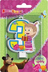 Сandle on a Cake Topper 3 Years Masha and the Bear Must Have Accessories for the