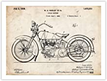 "Steves Poster Store HARLEY DAVIDSON 1928 MOTORCYCLE Patent Art Print (5"" x 7"")"