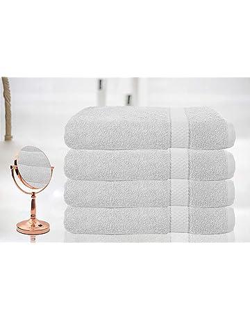 BellaCasa Casabella - Juego de 4 Toallas de baño (tamaño Grande, 100% algodón