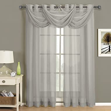 Royal Tradition Crushed Sheer ABRI Grommet Curtain Panels Window Treatment (50 x 96 Panel, Gray)