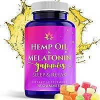 Hemp Melatonin Gummies Sleep Aid | 5MG Melatonin + 25MG of Natural Hemp Oil Extract...