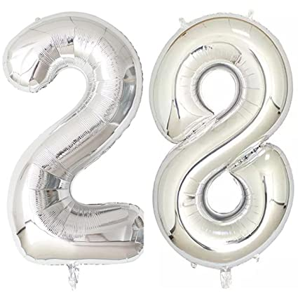number 28 birthday balloons