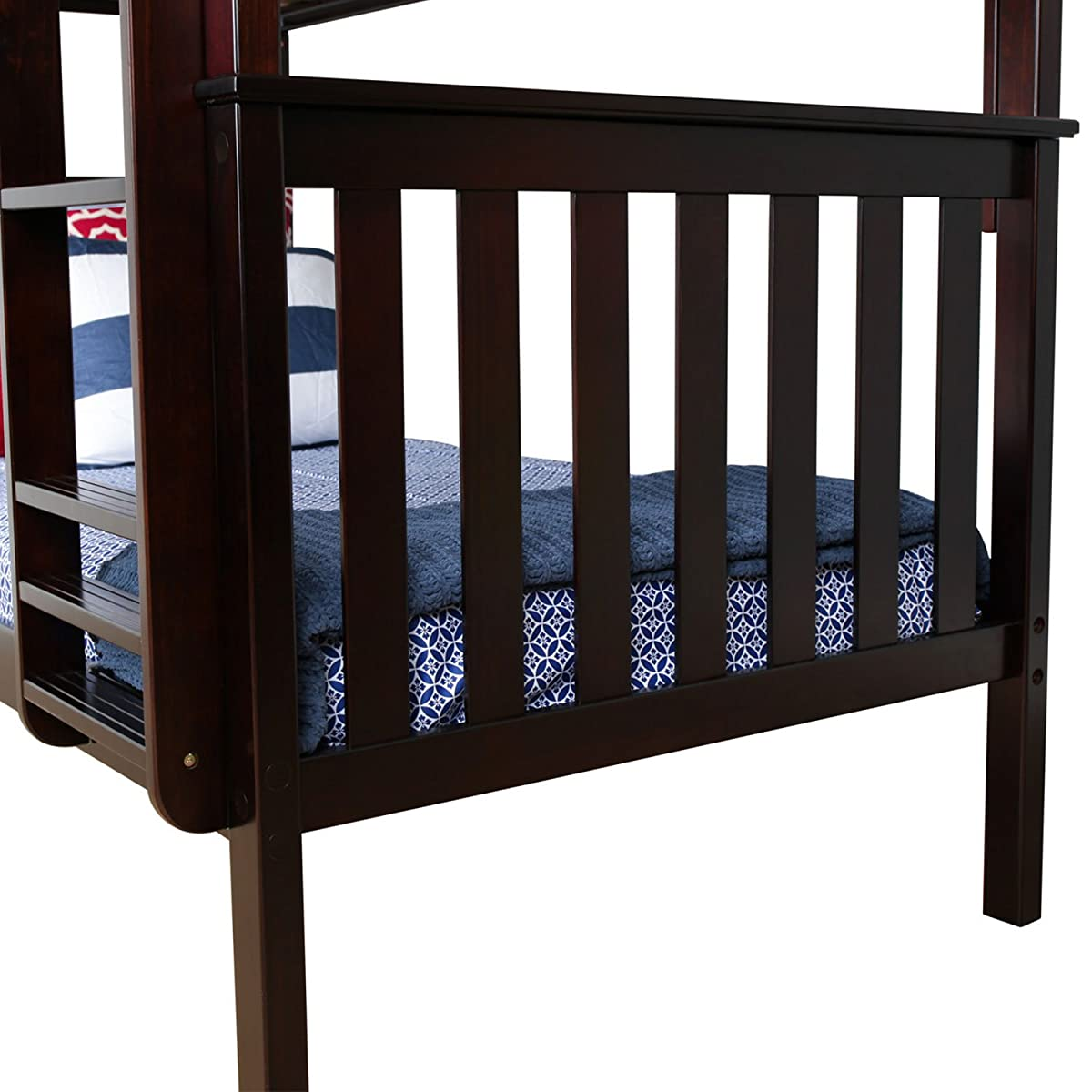 Max & Lily Solid Wood Twin over Twin Bunk Bed with Trundle Bed, Espresso