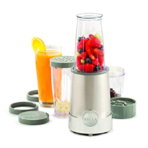BELLA (13330) Personal Size Rocket Blender, 12 Piece Set, Stainless Steel & Chrome, Perfect for Smoothies & Health Drinks, Grinding, Chopping & Food Prep