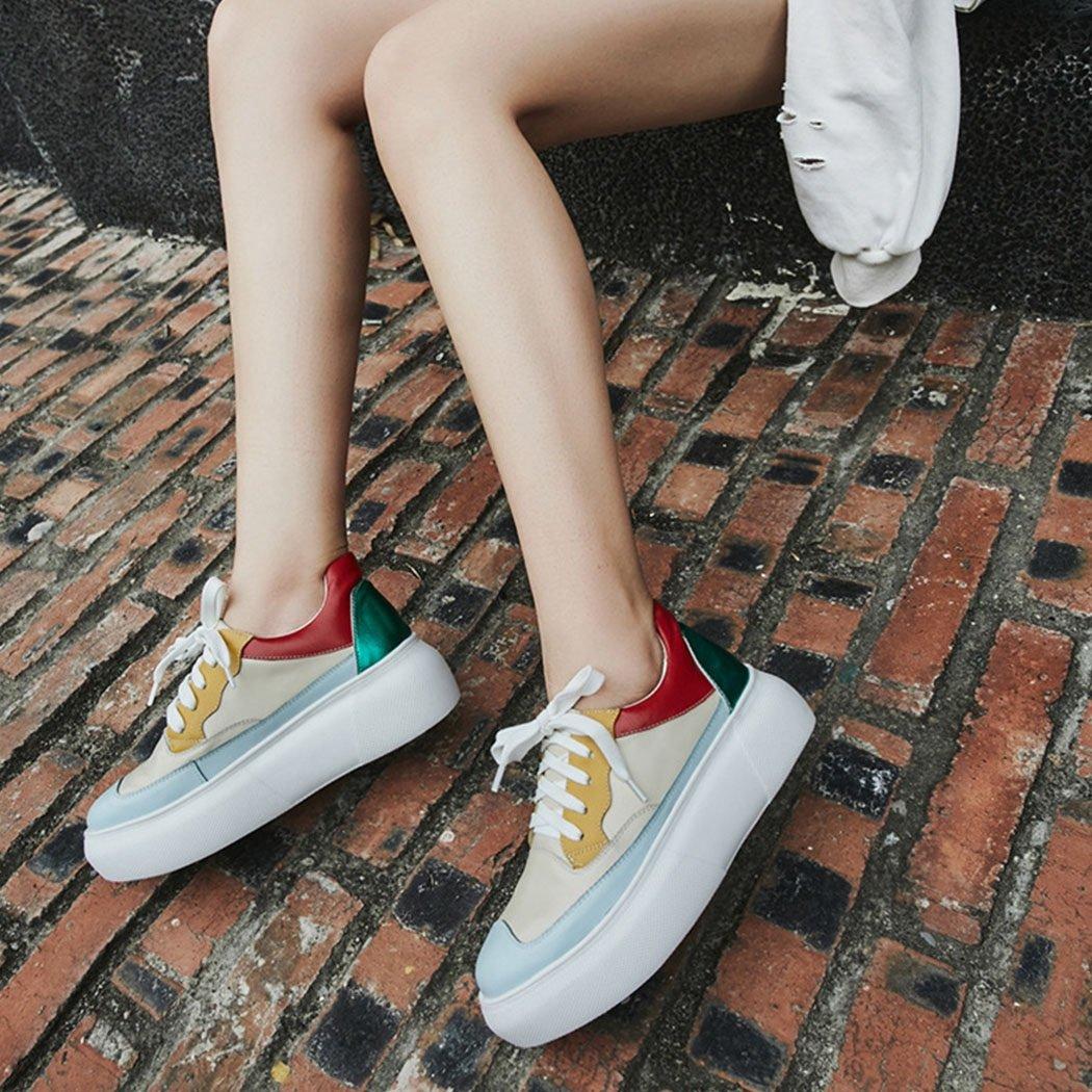 GAOLIXIA Flache beiläufige Schuhe der Frauen schnüren schnüren schnüren Sich Oben-Soled Muffin-Ferse-beiläufige Schuhe im Freien Bequeme gehende Wanderschuhe b58514