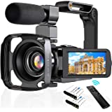 """4K Camcorder Digital Video Camera WiFi Vlogging Camera Camcorders with Microphone & Remote Control 3.0"""" IPS Touch Screen Vlog"""