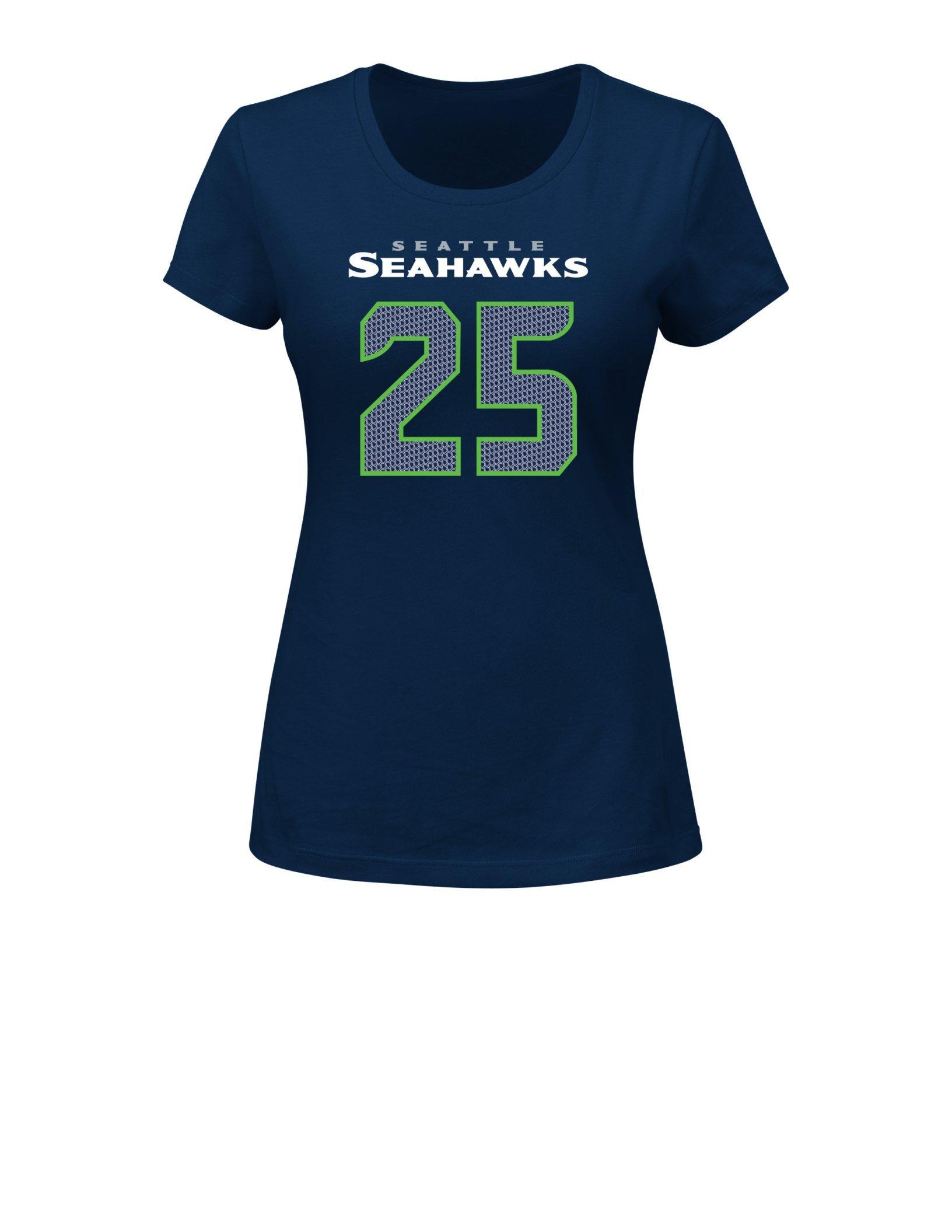 Nfl Seattle Seahawks Richard Sherman 25 Her Highlight Player Program Short Sleeve Deep Cre