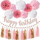 Pink Rose Gold Birthday Party Decorations Set, Rose Gold Glittery Happy Birthday banner, Tissue Paper Pom, Circle Dots Garlan