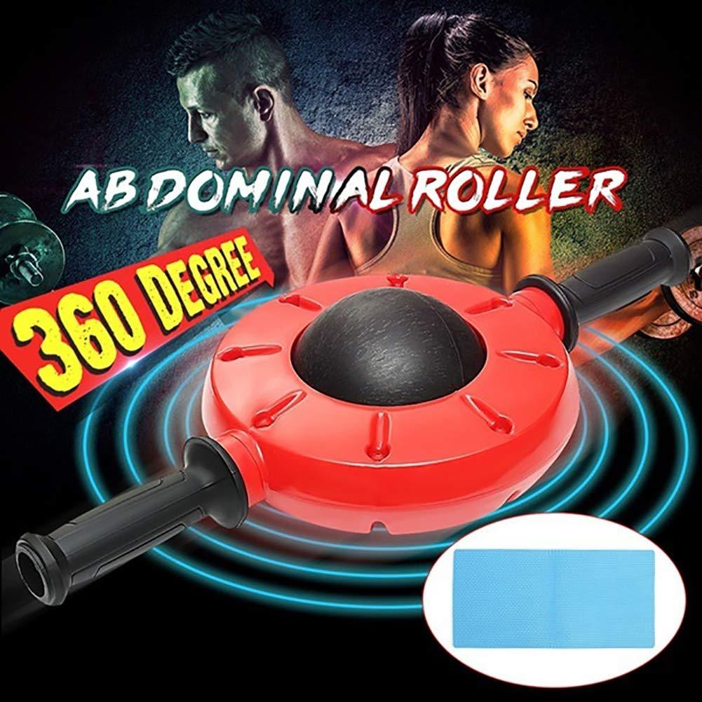 HAohAnwuyg Abdominal Roller,360 Degrees Unisex Whisper Abdominal Roller Trainer Wheel Exercise Fitness  Red