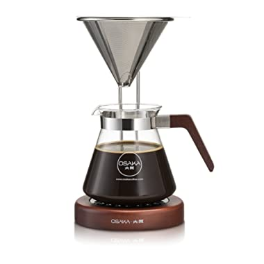 Osaka Pour-Over Coffee Dripper with Wood Stand - Full Brewing Set for a Homemade Pourover. Lake Mashu  (Mahogany)