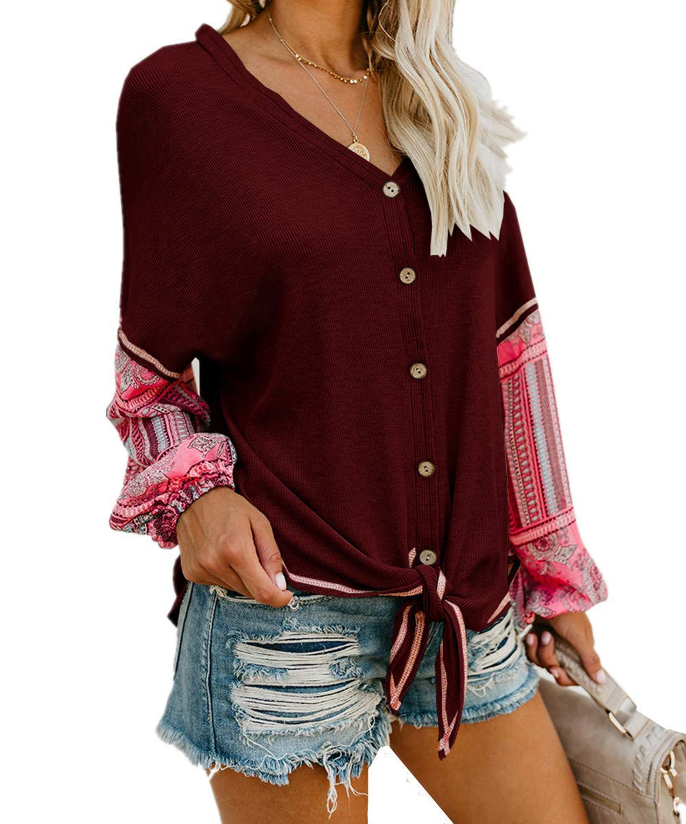 2a8cc634d Unidear Womens Tie Front Henley V Neck Button Down Knit Tunic Blouse Boho  Print Long Sleeve Thermal Shirt Tops #2Rust L