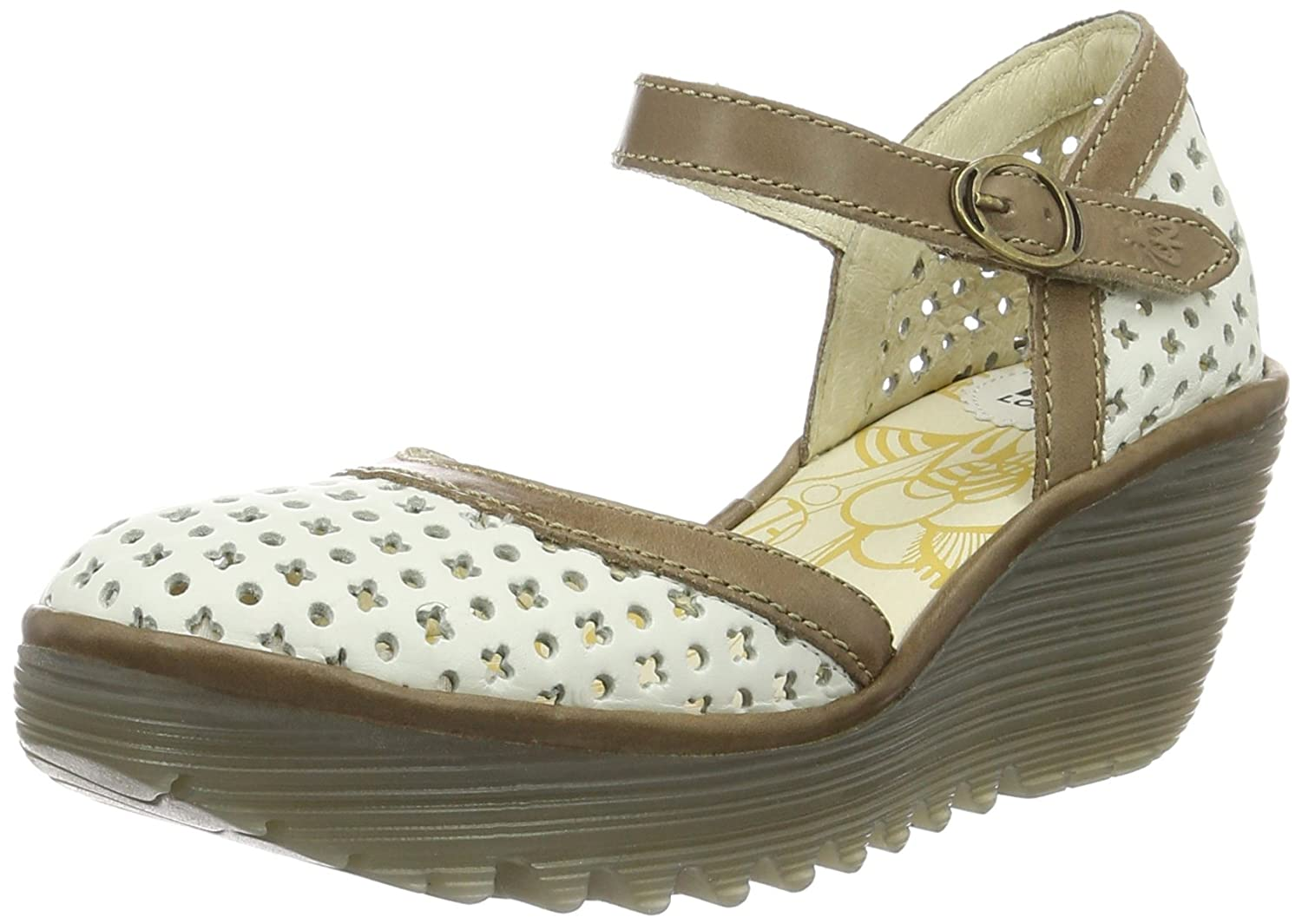 Fly London Womens Yadu732Fly Leather Sandals B01M04OF4N 40 M EU / 9-9.5 B(M) US|Off White / Grey