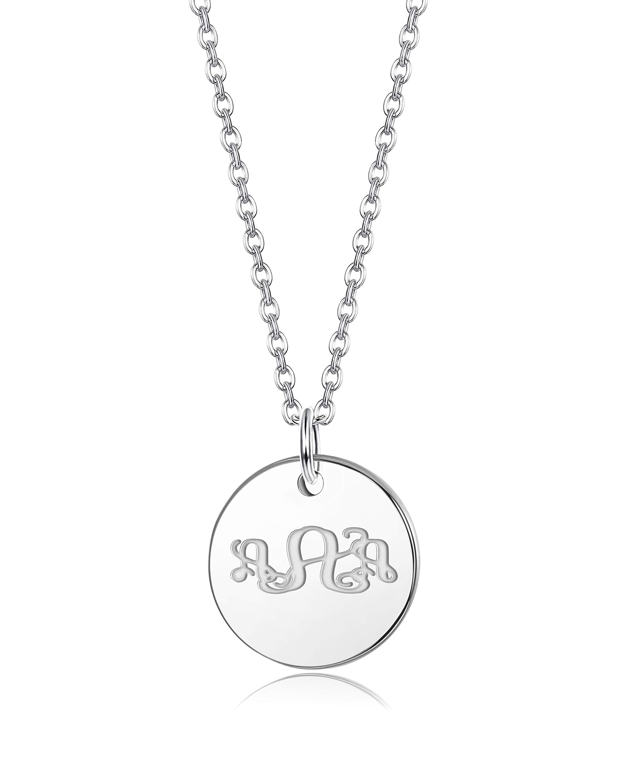1ef07e8252d889 FUNRUN JEWELRY Stainless Steel Initial Necklace for Women Girls Alphabet  Letter Disco Pendant Necklace Personalized Gift
