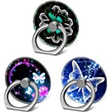 3 Pack/Cell Phone Finger Ring Holder Stand Car Mount Works for Smartphone and Tablet - Butterfly and Neon Rainbow Butterflies