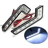 KATUR 2Pcs 8 LED Style Car DRL Daytime Running White Front Fog Lamp Light for Mercedes-Benz 12V