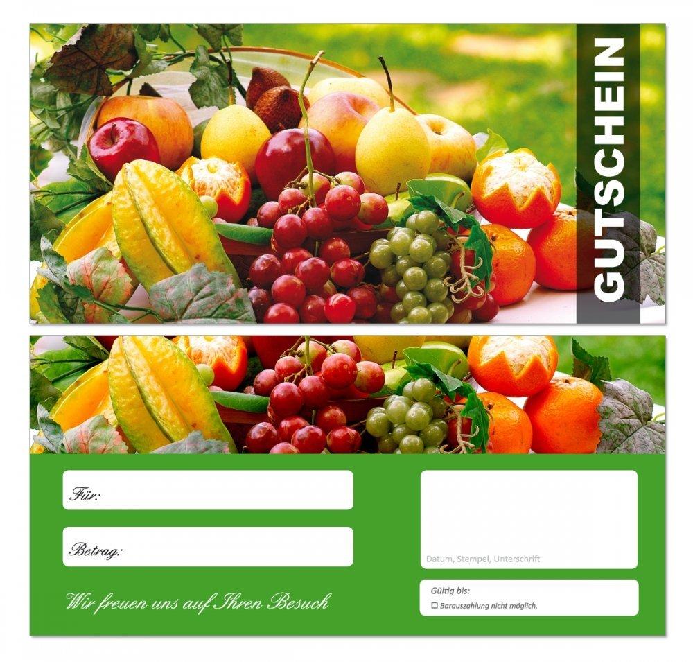200 Stück Premium Geschenkgutscheine (Obst-670) - Ein schönes Produkt für Ihre Kunden Gutscheine Gutscheinkarten für Bereiche wie Gastronomie, Restaurant, Catering, Obsthandel, Großhandel, Freizeit, Feier, Geschenk, Gaststätte und vieles mehr