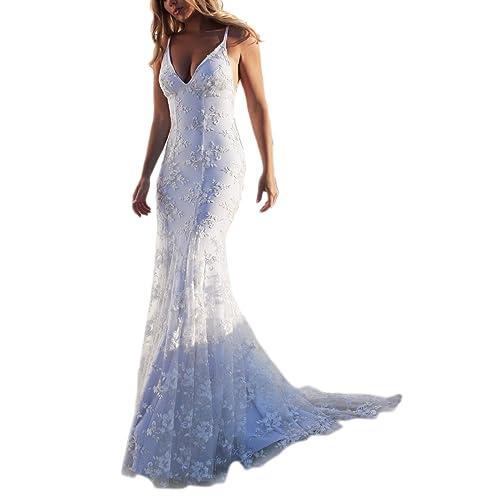 Suvimuga Las Mujeres Blancas Maxi Vestido con Cuello En V De Encaje Vestidos Bodycon Backless Formal