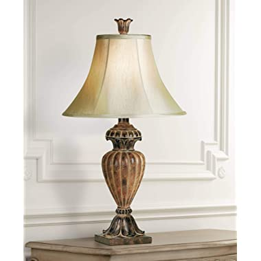 Traditional Table Lamp Urn Two Tone Bronze Off White Bell Shade for Living Room Family Bedroom Bedside Nightstand - Regency Hill