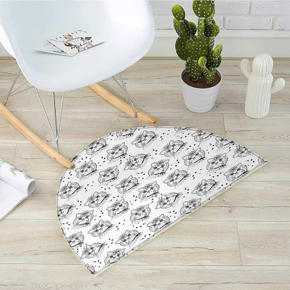color15 H 23.6\ color15 H 23.6\ Black and White Semicircle Doormat Cute Dog Pattern with Buckle and Collar Monochrome House Pet Illustration Halfmoon doormats H 23.6  xD 35.4  Black White
