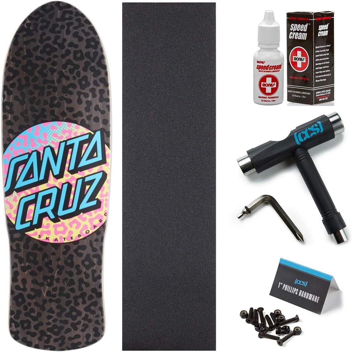 Santa Cruz Prowl Dot Preissue スケートボードデッキ - 9.42インチ 骨スピードクリーム付き CCSグリップ スケートツール 1インチ金具付き