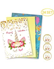 FRONT 24 Unicorn Invitations Large Set Giltter Unicorn Face with 24 Envelopes Double Sided