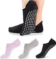 Vetoo Yoga Socks for Women Non-Slip Grips, Ideal for Pilates, Pure Barre, Ballet, Dance, Barefoot Workout, 3 Pairs