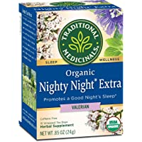 Traditional Medicinals Organic Nighty Night Extra Valerian Relaxation Tea (Pack of 1), Promotes a Good Night's Sleep, 16 Tea Bags