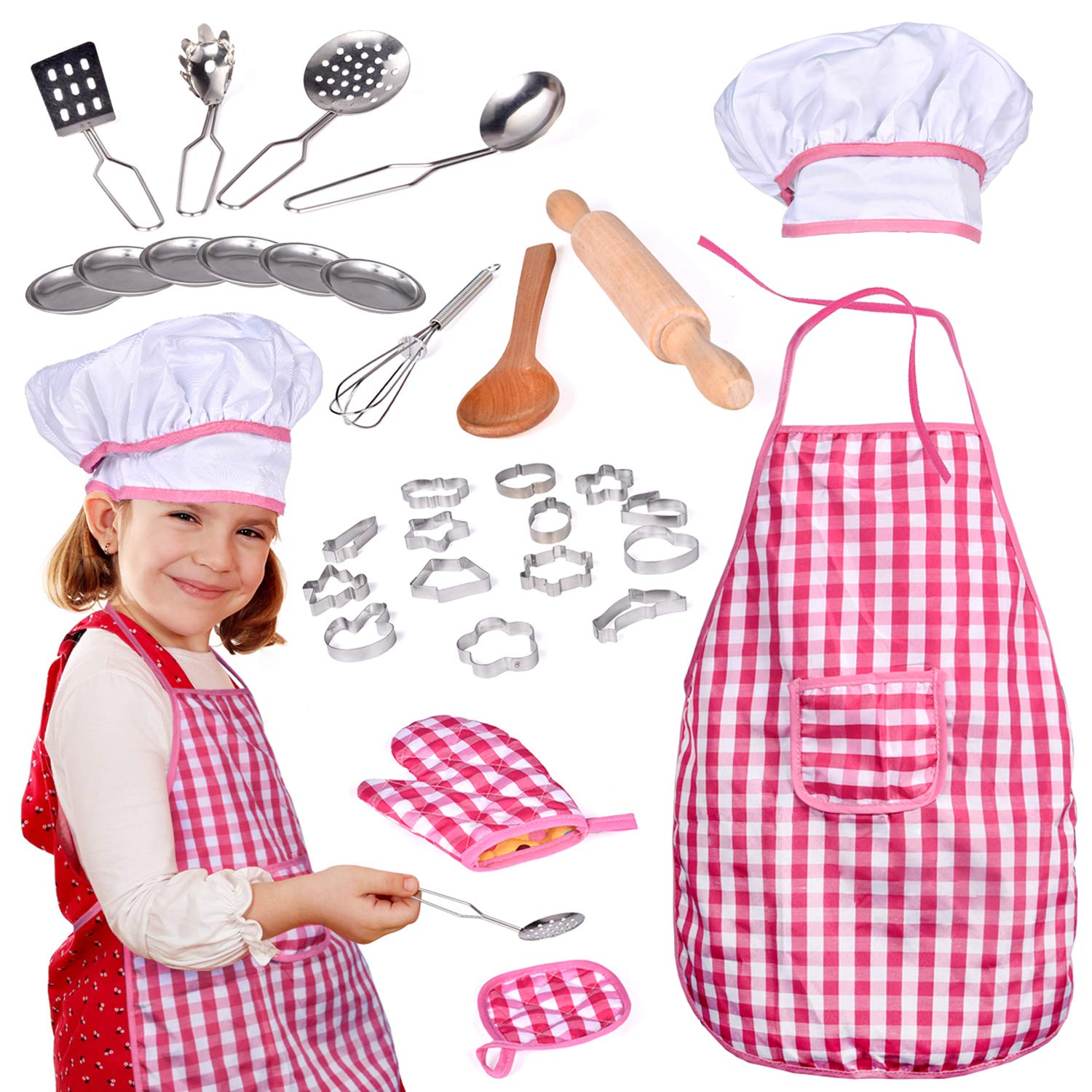 Dress Up Pretend Play Images On: 32PCs Chef Dress Up Clothes Little Girls, Kitchen Play Set