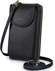 S-ZONE PU Leather RFID Blocking Cellphone Wallet Clutch Purse Zippered Crossbody Bag Phone Pouch (Black)