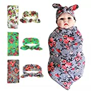 habibee Newborn Swaddle Blanket Headband With Bow Set Baby Receiving Blankets (A Floral 3 Packs)