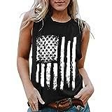 LUOFEIYU Women Fashion O-Neck Sleeveless Independence Day Flag Print Tank Tops Shirts